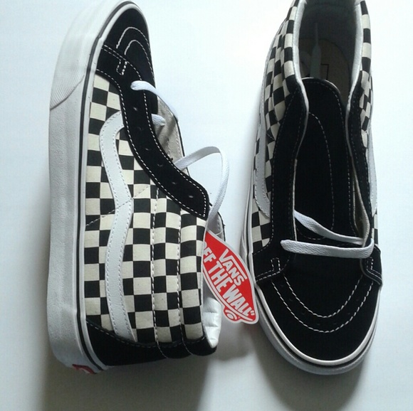 25b45feb29 New Vans Checkerboard Mid Old Skool Sneakers
